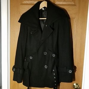 Moda International Black Peacoat Jacket Sz S